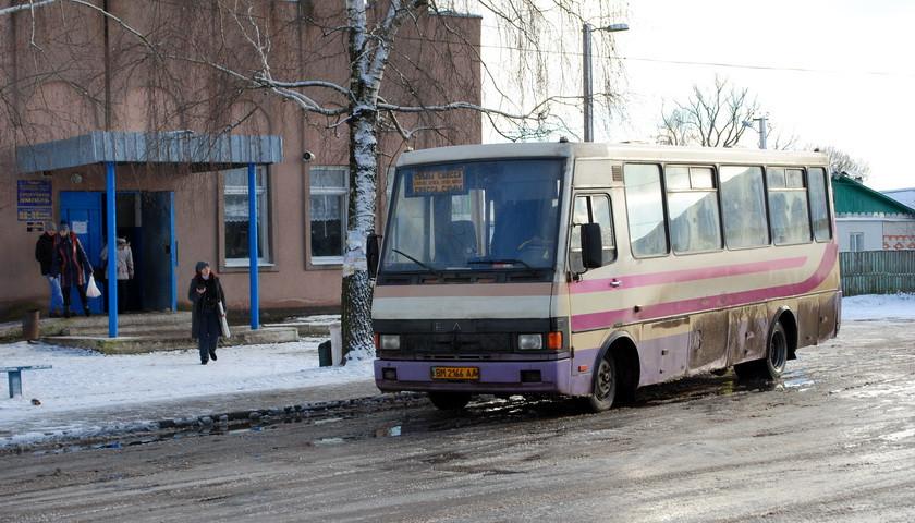 На Ямпільщині водій зупинив автобус через слизьку дорогу